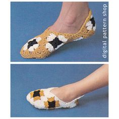 Vintage Granny Square Slippers Crochet by DigitalPatternShop, $2.50