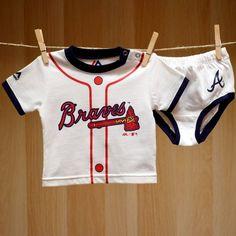 Braves Baby Little Player Tee Diaper Set - White