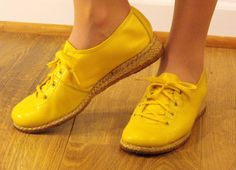 60s shoes // 1960s bright yellow mod scooter by KatsPajamasVintage, $54.00