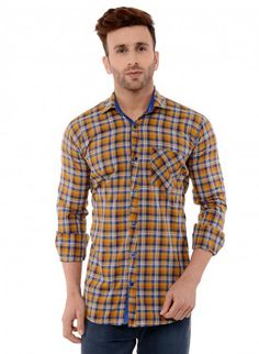 Buy Checked Brush Twill Casual Shirt Online at Low prices in India on Winsant  #shirts #casualshirt #mensfashion #fashionblogger #fashion #style #winsant #pinterestmarketing #pinterest Casual Shirts For Men, Men Casual, Online Shopping Websites, Yellow Shirts, Trouser Jeans, Men Online, Daily Wear, Workout Shirts
