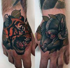 Guy With Hand Tattoos von Ram und Tiger Neo Traditional Design