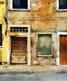 Yellow Wall - Venice - Original Fine Art for Sale - © David Morris #watercolor jd