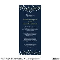 Sweet Baby's Breath Wedding Program 4x9.25 Paper Invitation Card