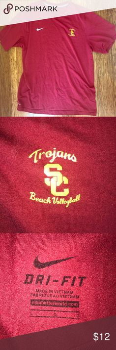 Nike Dri-Fit USC Trojans✌️Beach Volleyball T L EUC This Nike Dri-Fit USC Trojans✌️Beach Volleyball T-shirt is size L and in EUC. Only worn a handful of times. Rare small production item created for the NCAA two-time national championship team. A great item for any beach volleyball fan. Nike Shirts Tees - Short Sleeve