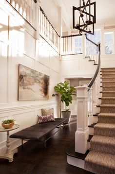 "Foyer Design Ideas. Foyer Decorating Ideas. Foyer. Foyer Furniture. Foyer Staircase. #Foyer Bench is the ""Ardmore Bench by Kasaboo Home"" and staircase runner is the ""Masland Carpet in Stone Mist"". Garrison Hullinger Interior Design Inc."