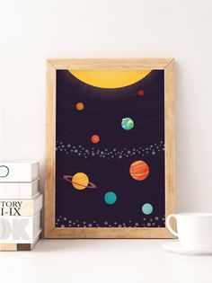 Planets illustration, Solar system print, Nursery art, Kids space art, Planets print, Nursery poster, Kids room art, Cute poster --------------- Cute print perfect to decorate your nursery! ▲ Printed on Canson 270gsm satin, acid-free paper using professional printers, colors dont fade and paper doesnt turn yellow or degrade. ▲ Do you want a custom size? contact me! Please note: All prints are sent protected with a cello bag, rolled in a sturdy cardboard tube with sealed caps. Colors mig...