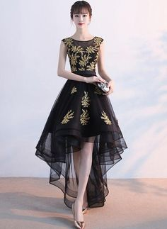 Chic / Beautiful Cocktail Party Formal Dresses 2017 Cocktail Dresses Black A-Line / Princess Asymmetrical Sash Scoop Neck Backless Sleeveless Gold Appliques Flower High Low Prom Dresses, Black Prom Dresses, Homecoming Dresses, Cute Dresses, Beautiful Dresses, Short Dresses, Formal Dresses, Dress Black, Knee Length Dresses