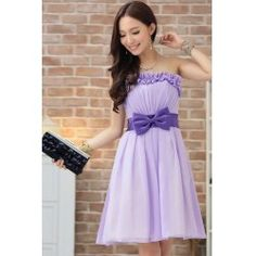 $24.04 Sweet Style Low-Cut Solid Bowknot Embellished Short Dress For Women