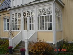 House Front, My House, Little Green House, 3 Season Porch, Victorian Style Homes, Decks And Porches, Home Additions, Scandinavian Home, Glass House