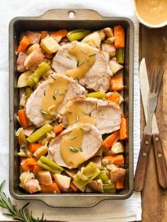 Enjoy a classic Sunday dinner for two without the leftovers by cooking Pork Roast For Two in the oven with vegetables and gravy. Roast Dinner For Two, Dinner Menu, Boneless Pork Roast, Cooking Pork Roast, Taiwanese Cuisine, How To Cook Pork, Pork Recipes, Jam Recipes, Family Recipes
