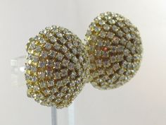 Vintage Round Domed Clear Rhinestone Clip by delightfullyvintage