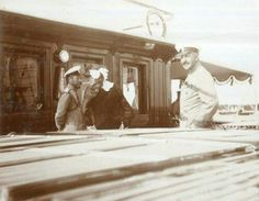 """Tsar Nicholas ll of Russia photographed with his second eldest daughter,Grand Duchess Tatiana Nikolaevna Romanova of Russia and Officer Nicolas Sablin,on board the Imperial Yacht Standart in 1912. """"AL"""""""