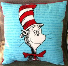 Dr. Seuss 'Cat in the Hat' pillow ~ eclectic kids bedding by Etsy ~ THIS!
