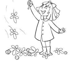 Kolorowanka - Dziewczynka i liście