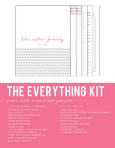 Chevron Printable Planner Kit for Household Homekeeping Binder