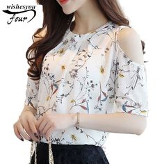 Cheap shirts for women, Buy Quality floral shirt directly from China blusa floral Suppliers: 2018 Chiffon Print Blusas Floral Shirt For Womens Elegant Open Shoulder Blouses Women Ete Plus Size Female Tops 30 Camisa Floral, Plus Size Shirts, Collars For Women, Blouses For Women, Blouse Styles, Blouse Designs, Mode Outfits, Fashion Outfits, Style Fashion
