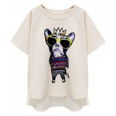 White Short Sleeve King Dog Print Loose T-Shirt ($19) ❤ liked on Polyvore featuring tops, t-shirts, short sleeve t shirts, loose fitting t shirts, white short sleeve t shirt, short sleeve tops and short sleeve tee