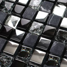 Ice Crack Glass Mosaic Tile Brushed Stainless Steel Backsplash Wall Stone Mosaics Marble Floor Tiles Diamond Crystal Tile KS66B