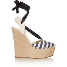 Gucci Striped canvas and leather wedge espadrilles, Size: 41 ($315) ❤ liked on Polyvore featuring shoes, sandals, heels, wedges, navy leather sandals, navy wedge sandals, white heel sandals, white wedge sandals and white sandals