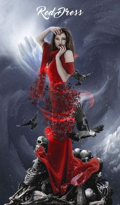 In this Photoshop tutorial, I'm going to show you how to create a photo manipulation featuring a woman with a red dress standing on the skeleton and surrounded by three birds crow.