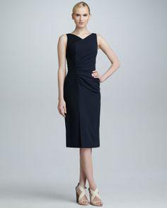Carolina Herrera Dresses   Carolina Herrera High-Neck Colorblock Dress Black Navy