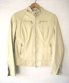 VERA-PELLE-LEATHER-MOTORCYCLE-JACKET-Cream-White-Moto-Cafe-Racer-Biker-  Almost. Would prefer asymetric