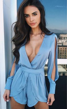 Deep V Neck Choker Belt Slit Long Sleeve Playsuit