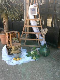 Escalera,cajones,botellas antiguas