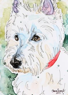 CUSTOM PAINTINGS / MIXED MEDIA ON YUPO PAPER / PORTRAITS / PETS / RESCUED PETS by Shaina Kay Stinard - Artist.  www.shainastinardartist.com   Making your photos a work of art!   'Jack' - 5 x 7 watercolor with pen and ink on YUPO paper.  #SecondChances #Kickstarter #rescuedpets