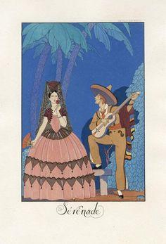 20世紀初頭アール・デコを代表するイラストレーター、ジョルジュ・バルビエ「セレナーデ」。男性はソンブレロを被っており、メキシコをイメージした作品とわかる。メキシコはスペインの植民地だったため女性はマンティラ着用