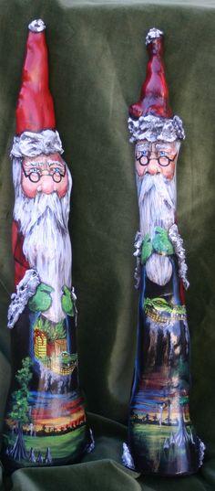 Cypress Knee Santa's - ARTIST Karen Burns Morrow Christmas Room, Santa Christmas, Christmas Projects, All Things Christmas, St Nicholas Santa Claus, Cypress Knees, Hand Painted Gourds, Gourd Art, Christmas Paintings