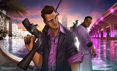 Amazing Grand Theft Auto Videogame Fan Art by Patrick Brown Chris Brown, Patrick Brown, Grand Theft Auto Games, Grand Theft Auto Series, Tyler Durden, City Wallpaper, 1080p Wallpaper, Wallpapers, Ninja Wallpaper