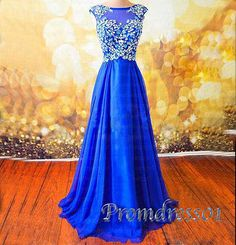 Modest prom dress, ball gown, 2016 royal blue chiffon long prom dress for teens…
