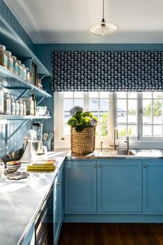 LOVE STREET RESIDENCE - KITCHEN & BATHROOM | The English Tapware Company Stylish Kitchen, Blue Kitchens, Interior Windows, Kitchen Curtains, Home, Woven Shades, Kitchen Window Treatments, Curtains, Anna Spiro