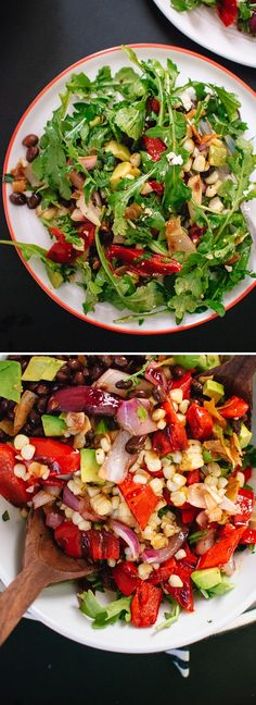 Healthy, hearty salad for late summer featuring grilled corn and bell peppers, arugula, feta, black beans and a sweet-and-spicy chili-lime dressing!