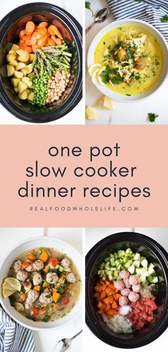 One Pot Slow Cooker Dinner Recipes For Your Busy Weeknights from Real Food Whole Life #realfoodwholeliferecipe #slowcookerrecipe #crockpotrecipe #glutenfreecrockpot #dairyfreecrockpot #wintercrockpot #fallcrockpot #healthycrockpot #onepotdinner Healthy Thanksgiving Recipes, Slow Cooker Recipes, Vegetarian Recipes, Dinner Crockpot, Fall Recipes, Slow Cooker Black Beans, Slow Cooker Enchiladas, Healthy Slow Cooker