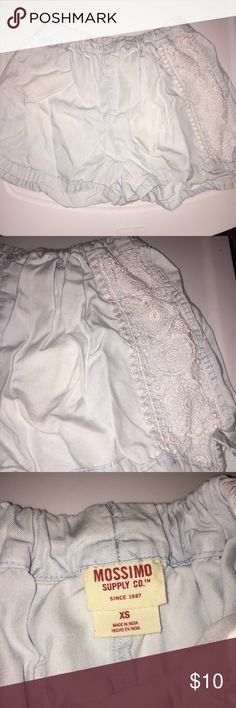 Shorts Light blue colored shorts/light denim style. Comfortable and doesn't fit tight. Lace style on the sides Shorts