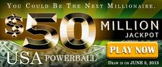 USA Powerball Rollover: USD 50M on June 5