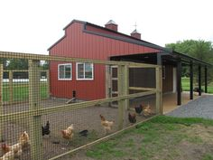 like this barn with a chicken run attached. I imagine having the coop inside the barn, one or two horse stalls, a tack room and maybe lengthen it a bit more for a milking parlor. Chicken Fence, Chicken Barn, Building A Chicken Coop, Chicken Runs, Diy Chicken Coop, Chicken Coop With Run, Chicken Coop Large, Chicken Cottage, Chicken Life
