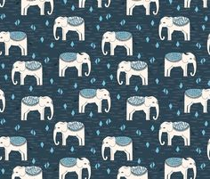 Elephant Parade - Parisian Blue/Chapagne/Soft Blue fabric by andrea_lauren on Spoonflower - custom fabric
