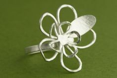 'Floating Flowers Ring' handmade in sterling by Garden of Silver.
