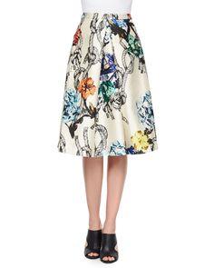 Gazaar Printed Pleated Satin Skirt