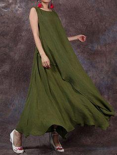 Vintage Sleeveless O-Neck Pure Color Long Maxi Dresses