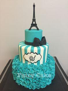 Teal, black, and white Paris themed Eiffel Tower sweet sixteen birthday cake