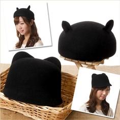 耳付きフェルト帽
