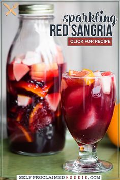 Sparkling Red Sangria is made with your favorite red wine, a splash of orange liquour, small bites of fresh fruit, and bubbles! The longer the fruit soaks, the more of the sangria it absorbs for a snack once you finish your cocktail! This red wine sangria recipe is a fabulously easy make-ahead cocktail.