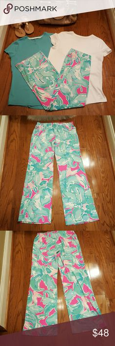 EUC Lilly Pulitzer Georgia May Palazzo Pants EUC Lilly Pulitzer Georgia May Palazzo Pants.  96% Rayon 4% Spandex.  Really comfortable!  Only worn a few times. Lilly Pulitzer Pants