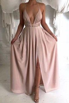 Sexy Deep V Halter Solid Color Dress