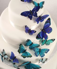 Make a butterfly wedding cake to remember with The Knot Shop's exquisite butterfly cake decorations, available in various colors. Butterfly Wedding Cake, Butterfly Cakes, Blue Butterfly, Butterfly Birthday, Butterfly Theme Party, Wedding Flowers, Themed Wedding Cakes, Wedding Cake Toppers, Wedding Favors