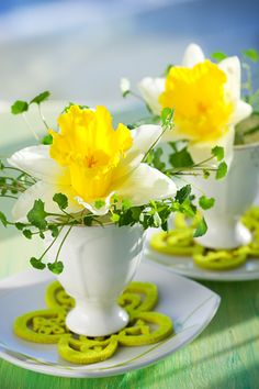 Daffodils in egg cups. So pretty for a spring lunch. #gladinspiredlunches